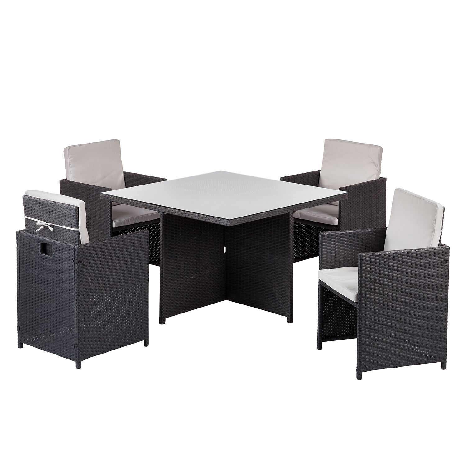 essgruppe paradise lounge i 5 teilig glas polyrattan. Black Bedroom Furniture Sets. Home Design Ideas