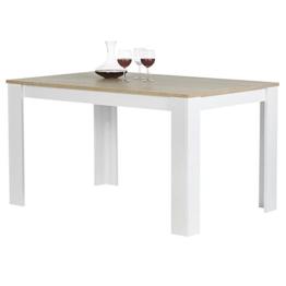 Esstisch Esszimmertisch Küchentisch TIJUANA in Sonoma Eiche / weiß, 120 x 80 cm (B x T) -