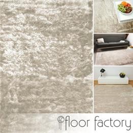 Exklusiver Hochflor Shaggy Teppich Satin beige/creme 120x170 cm - edler, seidig glänzender Teppich -