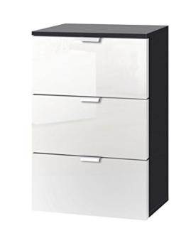 Express Möbel Nachtkonsole mit drei Schubladen Weiß Hochglanz Lack, Korpus Graphit Nachbildung, BxHxT 40x61x42 cm, Art Nr. 30801-967 -