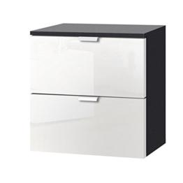 Express Möbel Nachtkonsole Weiß Hochglanz mit Schubladen, Korpus Graphit NB, BxHxT 40x42x42 cm, Art Nr. 30800-967 -