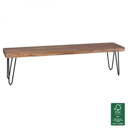 FineBuy Esszimmer Sitzbank Massiv-Holz Akazie 180 x 45 x 40 cm Design Holz-Bank Natur-Produkt Küchenbank Landhaus-Stil dunkel-braun Bank 4-Sitzer für innen ohne Rücken-Lehne Echt-Holz unbehandelt -