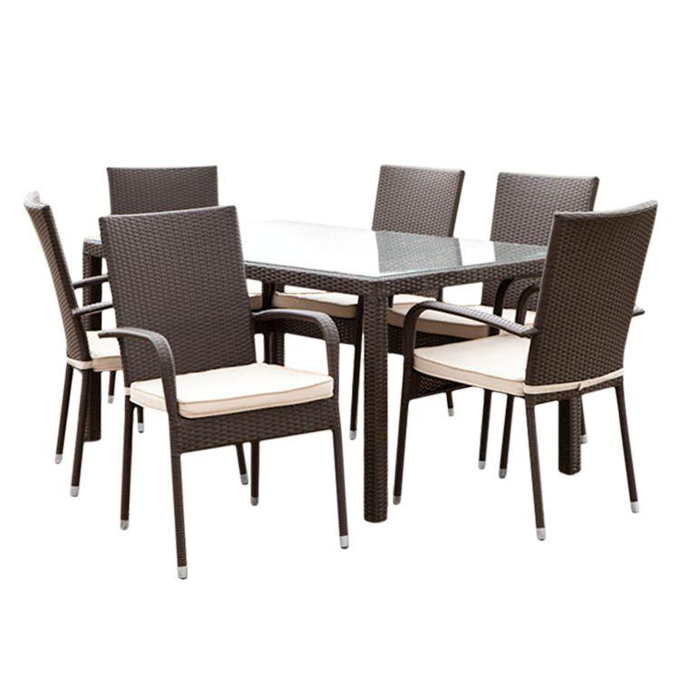 gartenessgruppe alicante 7 teilig polyrattan braun. Black Bedroom Furniture Sets. Home Design Ideas