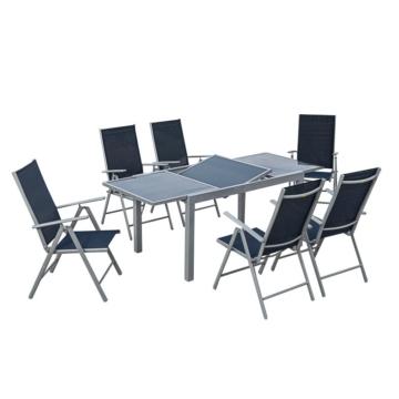 Gartenessgruppe Amalfi II (7-teilig) - Aluminium / Textilene, Merxx