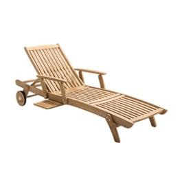 Gartenliege Holz OUTLIV. Hampton Sonnenliege Teakholz mit Armlehnen Holzliege -