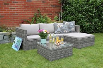 Gartenlounge Geflecht Loungemöbel Sitzgruppe mit Sitzpolster steingrau -