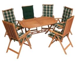 Gartenmöbel-Set aus Massivholz mit 6 Klappsesseln