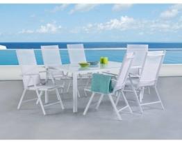Gartenmöbel Set Weiss - Tisch 160 cm - 6 Stühle - Aluminium - CATANIA