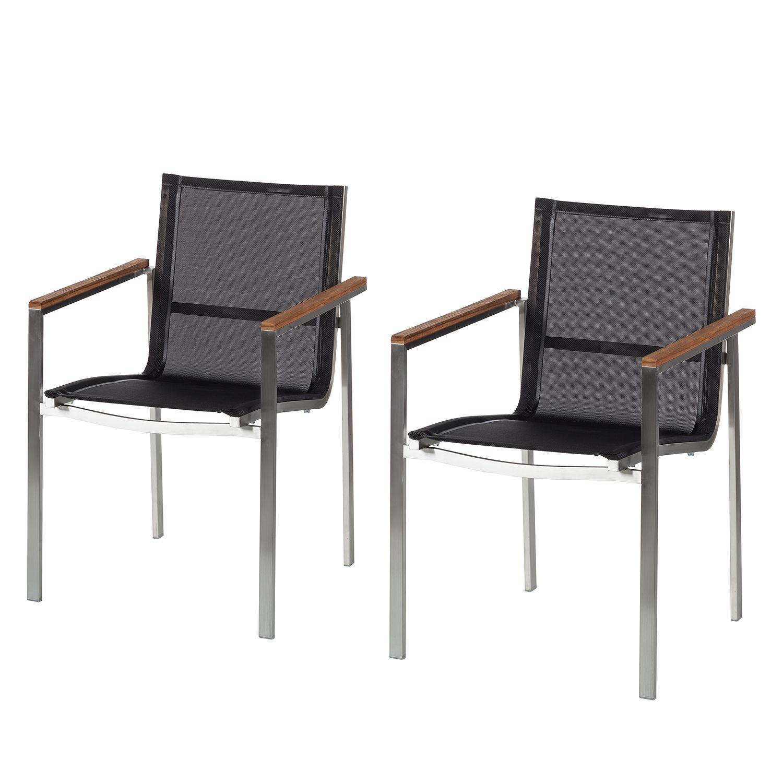 gartenstuhl teakline exklusiv 2er set teakholz massiv textilene edelstahl ars natura. Black Bedroom Furniture Sets. Home Design Ideas