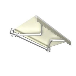 Gelenkarmmarkise Basic mit Volant / Alu Markise weiss / 350 x 300 cm / Stoff elfenbein (3,50 x 3,00 m) -