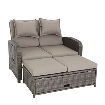 greemotion 3-in-1 Rattan-Gartensofa Bahia Rondo in Braun - 2-Sitzer Lounge-Sofa, Rückenlehne 6-fach verstellbar, Tisch- & Hocker-Funktion & Stauraum - Loungemöbel mit Auflagen - Daybed & Gästebett -
