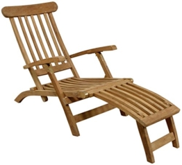 Holzliegestuhl massives Teakholz Deckchair Liegestuhl Gartenliege Holzliege Teak -