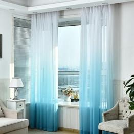 Hoomall Transparenter Ösenvorhang Farbverläufen Gardinen für Schlafzimmer Kinderzimmer Ösenschal Voile Dekoschal Gardine B*H 140*245cm 1er set Blau -