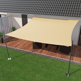 IBIZSAIL Premium Sonnensegel - Viereck (quadratisch) - 350 x 350 cm - CREME - wasserabweisend (inkl. Spannseilen) -