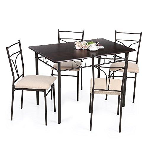 ikayaa 5 teilig essgruppe tischgruppe aus 1 esstisch 4 st hle moebel24. Black Bedroom Furniture Sets. Home Design Ideas