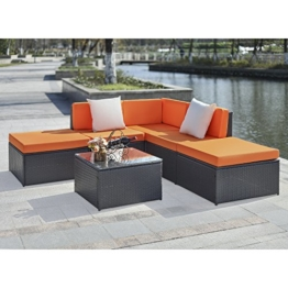 iKayaa 6PCS Rattan Lounge Set Polyrattan Gartenmöbel Set 2 Farbe Optional -