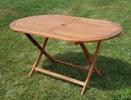klappbarer Gartentisch Holztisch Tisch oval 150x85cm BARBADOS aus Eukalyptus wie Teak von AS-S -