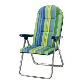Klappsessel Nizza - Aluminium/Textil - Silber/Grün-Blau, Best Freizeitmöbel