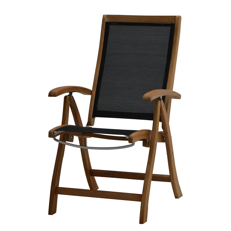 klappstuhl fairchild textilene teak massiv schwarz plo. Black Bedroom Furniture Sets. Home Design Ideas