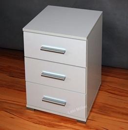 Labi Möbel Alex 3x Schubladen Schrank Kommode Nachttisch Nachtschrank Nachtkasten Nachtkästchen Nachtkonsole Korpus:Weiß Matt/Fronten:Weiß Hochglanz -