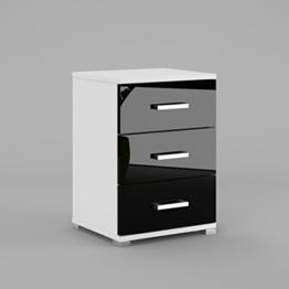 Labi Möbel N3 3x Schubladen Schrank Kommode Nachttisch Nachtschrank Nachtkonsole Weiß Matt Schwarz Hochglanz -
