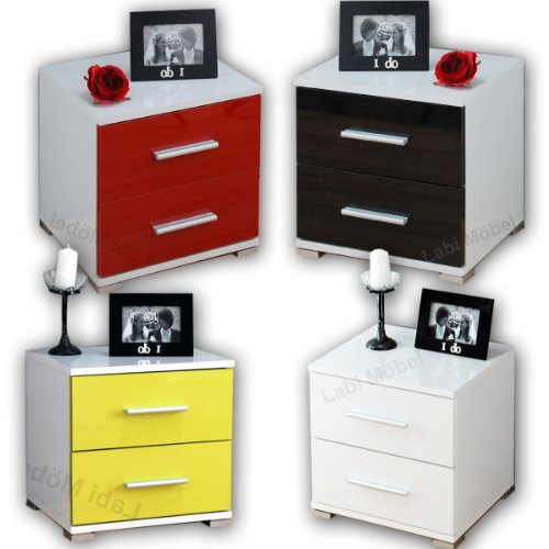 labi m bel nachtschrank nachttisch nachtkonsole n2 neli in wei hochglanz. Black Bedroom Furniture Sets. Home Design Ideas