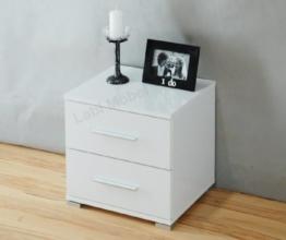 Labi Möbel Nachtschrank Nachttisch Nachtkonsole N2 NELI in Weiß Hochglanz -