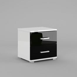 Labi Möbel Nachtschrank Nachttisch Nachtkonsole N2 NELI in Weiß Hochglanz / Schwarz Hochglanz -