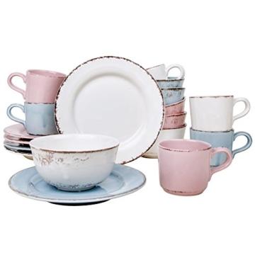 Landhaus Geschirr Set 18-teilig Frühstück Service Tasse Müslischale Teller Kombi Shabby Chic (Bunt) -