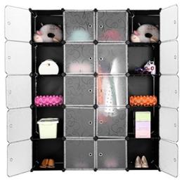 LANGRIA Regalsystem Stufenregal 20-Kubus Lagerregal Kleiderschrank Garderobe für Kleidung, Schuhe und Spielzeug (Schwarz und Transluzenten) -