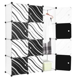 LANGRIA Stufenregal 12-Kubus Modular Lagerregal Kleiderschrank Garderobe mit Transluzenten Zebra Striped Türen Design für Kleidung, Schuhe, Spielzeug und Bücher -