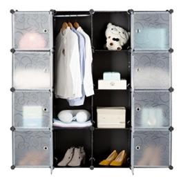 LANGRIA Stufenregal 16-Kubus Regalsystem Kleiderschrank Garderobenschrank für Kleidung, Schuhe, Spielzeug und Bücher -