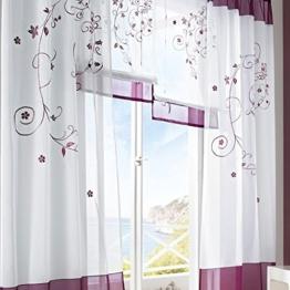 LianLe Gardine Vorhang Landschaft Stil für Wohnzimmer Schlafzimmer Studiezimmer (B:140*175cm, Lila) -