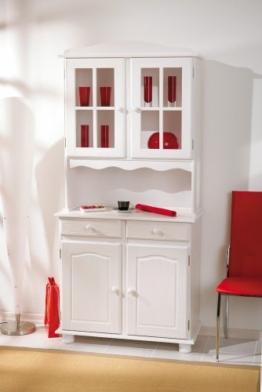 Links 20900805 Anrichte Vitrine Buffetschrank Kommode Landhaus massiv weiß 4-türig Schubladen -