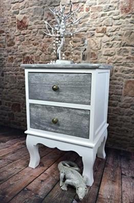Livitat® Nachttisch Nachtschrank Nachtkonsole Nachschränckchen Nachtkommode Weiß Shabby Chic barock LV1115 (2 Schubladen) -