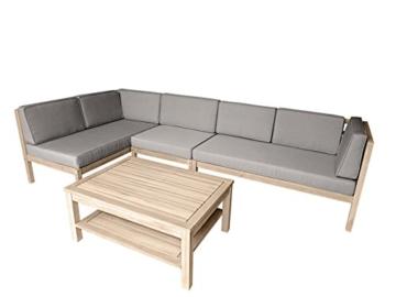 Loungemöbel Holz OUTLIV. Skagen Loungegruppe Design Gartenmöbel weiß/taupe 4tlg. Loungeset Outdoor -