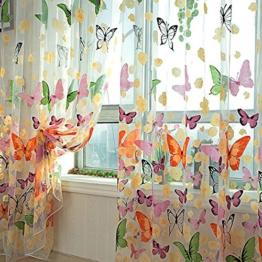 MAKKA Farbige Schmetterling Gardine Transparent Vorhang Zimmer Deko (200 x 100cm) -