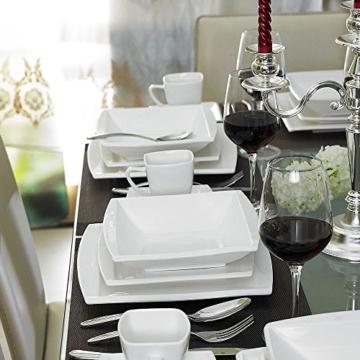 Malacasa, Serie Blance, Kombiservice 30 tlg. Porzellan Geschirrset Eckig Tafelservice mit je 6 Kaffeetassen 180 ml, 6 Untertassen, 6 Dessertteller, 6 Tiefteller und 6 Flachteller CREMEWEIß -