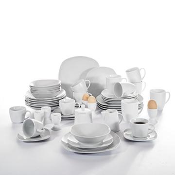 Malacasa, Serie Elisa, 50-teilig Tafelservice aus Porzellan, Kombiservice Frühstückservice Kaffeeservice mit Eierbecher, Kaffeetassen, Untertassen, Müslischalen, Dessertteller usw. für 6 Personen -
