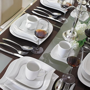 Malacasa, Serie Elvira, 60 tlg. Cremeweiß Porzellan Geschirrset Kombiservice Tafelservice im eleganten Design mit je 12 Stück Kaffeetassen, Untertassen, Dessertteller, Suppenteller und Flachteller für 12 Person -