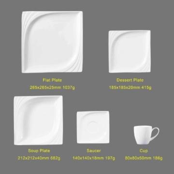 Malacasa, Serie Monica, 60 tlg Cremeweiß Porzellan Geschirrset Kombiservice Tafelservice mit 12 Kaffeetassen, 12 Untertassen, 12 Kuchenteller, 12 Suppenteller und 12 Essteller für 12 Personen -