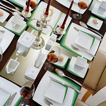 Malacasa, Serie Rebeca 40G, 40 teilig Set Porzellan Geschirrset, Kombiservice, Frühstückservice, Kaffeeservice mit 6 Kaffeetassen, 6 Untertassen, 6 Flachteller, 6 Suppenschalen, 6 Eierbecher, 1 Kaffeekanne, 1 Zuckerdose, 1 Milchtopf usw. für 6 Personen -