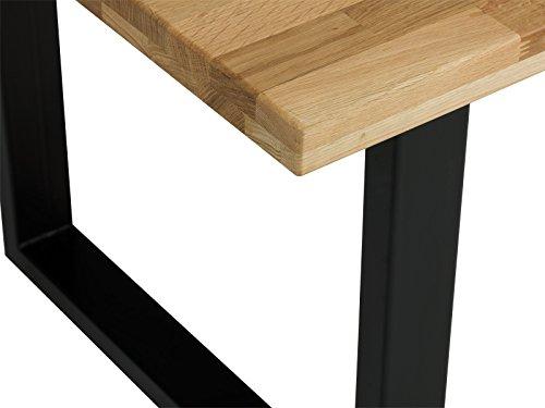 massivum esstisch camano 220x100 massiv eiche ge lt metall schwarz holztisch esszimmer m bel. Black Bedroom Furniture Sets. Home Design Ideas