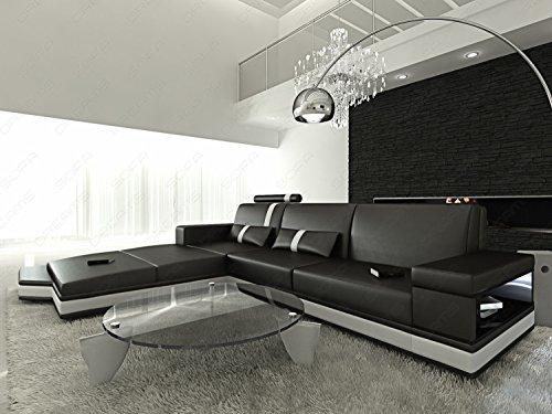 mega wohnlandschaft messana l form schwarz weiss eckcouch mit beleuchtung. Black Bedroom Furniture Sets. Home Design Ideas