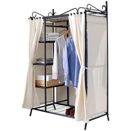 Metall Kleiderschrank Garderobe Breezy – mit Kleiderstange und Ablageflächen für Kleidung & Schuhe - hochwertige Stoff-Verkleidung - 109 x 57 x 171 cm – Beige Schwarz -