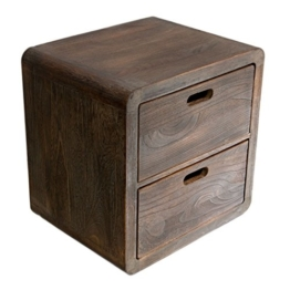 NEG Schubladenschrank VINUJA (dunkelbraun) 3-tlg. Nachttisch/Kommode/Teetisch aus Echtholz (Paulownia) -