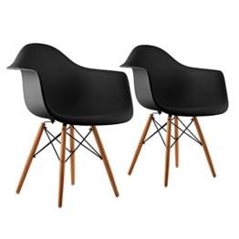 oneConcept Bellagio • Schalenstuhl • Designstuhl • Retro-Stuhl • 2er-Set • 70er Jahre Retro Look • Maße ca. 62 x 77,5 x 62,5 cm (BxHxT) pro Stuhl • breite Sitzfläche • hochwertige Hartplastik-Schale • Birkenholz-Beine • zeitlos • komfortabel • schwarz -