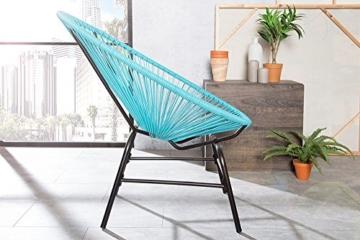 Original Retro ACAPULCO Chair türkis blau Mexico Stuhl aus Metall Polyrattan Outdoorstuhl für Innen und Außen Rattan Gartenstuhl Sessel -