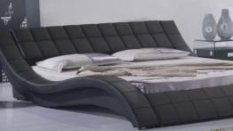 Polsterbett, Kunstlederbett R0B 180x200 cm Schwarz aus hochwertigem Kunstleder -