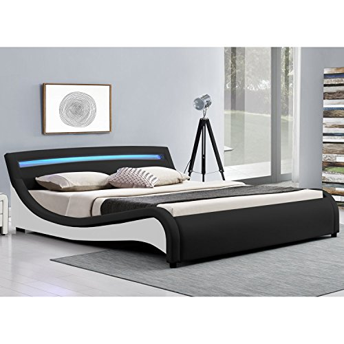 polsterbett malaga 180 x 200 cm mit led kopfteil schwarz. Black Bedroom Furniture Sets. Home Design Ideas